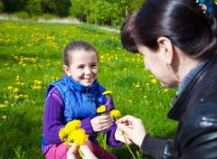 mother weaves a wreath of dandelions - stock photo