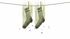 Smelly socks. 3D animation in cartoon style. Alpha channel, loopable. Stock Footage