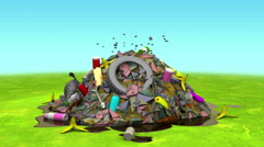 Landfill on the Lawn. 3D animation in cartoon style, loopable. Stock Footage
