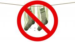 Smelly socks in Prohibited sign. 3D animation in cartoon style. Stock Footage