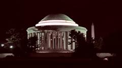 Jefferson Monument night Washington Monument 4K 011 Stock Footage