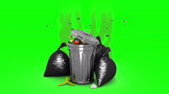 Smelly garbage bin and garbage bags. 3D animation. Green screen, loopable. Stock Footage