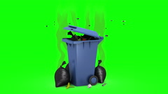 Smelly Trash Can and Garbage bags. 3D animation. Green screen, loopable. Stock Footage