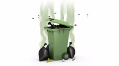 Smelly Trash Can and Garbage bags. 3D animation. Alpha channel, loopable. Stock Footage