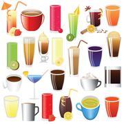 Stock Illustration of drinks - lemonade, coffee, tee, cocktail