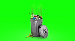 Smelly Garbage Bin. 3D animation. Green screen, loopable. Stock Footage