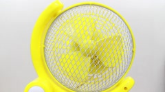 Yellow electric fan isolated on white Stock Footage