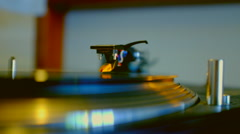 Turntable With Spinning Vinyl Stock Footage