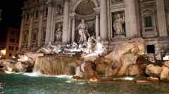 Trevi Fountain in Rome in night illumination, Stock Footage