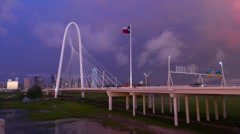 Dallas stormy skyline time-lapse with Storm Clouds at Margaret Hunt Hill Bridge Stock Footage
