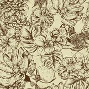 Vintage Monochrome Seamless Background, Tropical Fruit, Flowers, Butterfly and Stock Illustration