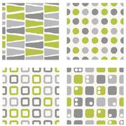 set of seamless pattern - green and gray colors - stock illustration