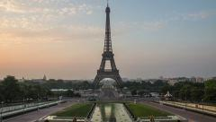 eiffel tower night to day timelapse - stock footage