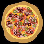 pizza with salami, olives, cheese, mushroom, onion - stock illustration