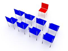 Illustration of planning in the company. One red and four blue chair. - stock illustration