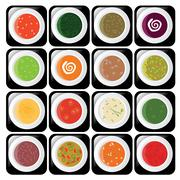 icon set - different kind of soup - stock illustration
