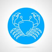 Crab blue round vector icon Stock Illustration