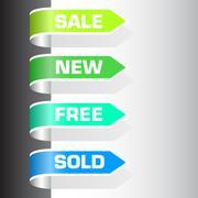 set of labels - sale, new, free, sold - stock illustration
