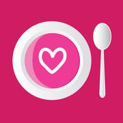 Special soup - pink with hearts, pink background Stock Illustration