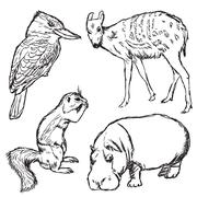 animals in zoo - part one - stock illustration