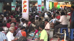 Busy fish market in Chennai, India Stock Footage