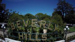 Beverly Hills sign aerial Stock Footage
