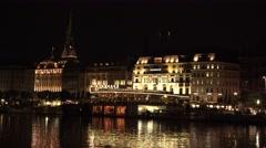 Stock Video Footage of ULTRA HD 4K Alsterpavillon Hamburg landmark night tourism attraction terrace fun