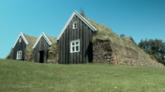 Traditional Grass House of ICELAND  Stock Footage