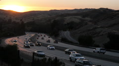 Stock Video Footage of 101 Freeway at Sunset in Calabasas