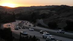 101 Freeway at Sunset in Calabasas  Stock Footage
