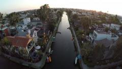 Venice Canals walkway aerial view Stock Footage
