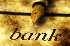 Bank and fountain pen - stock photo