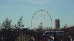View of the monorail and Ferris wheel in Moscow. Stock Footage