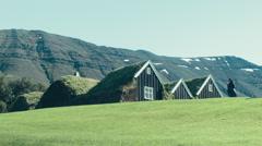 Traditional Icelandic turf house Stock Footage