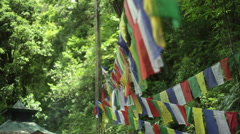 Buddhist prayer flags in forest, Sikkim, shallow DOF Stock Footage
