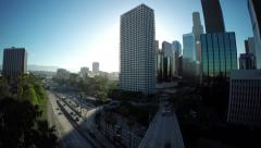 Down Town Los Angeles aerial buildings and traffic - stock footage