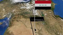 Iraq flag on pole on earth globe animation Stock Footage