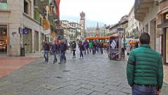 4k Tourists walking POV on visit at Verona Erbe Square Stock Footage
