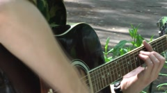Playing black guitar. Guitar (chords) Stock Footage