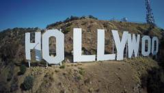 Aerial - Hollywood Sign - left to right tracking shot Stock Footage