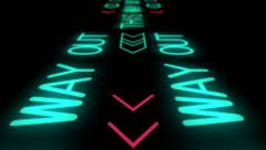 Neon exit signalisation Stock Footage