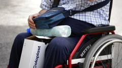 Paraplegic or quadriplegic man in wheelchair Stock Footage