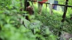 Woman ringing buddhist prayer bells, long shot, shallow DOF Stock Footage