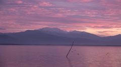 Sunrise at lake Kerkini, Greece Zoom Out Pan Stock Footage
