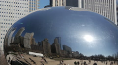 Close up from the Cloud Gate (The Bean) in Chicago Stock Footage