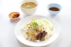 steamed chicken with rice , khao mun kai - stock photo
