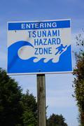 Tsunami emergency sign - stock photo