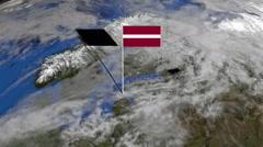 Latvia flag on pole on earth globe animation Stock Footage