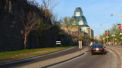 A highway in Ottawa with The National Gallery in the background - stock footage