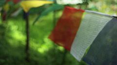 Buddhist prayer flags, close up, shallow DOF Stock Footage